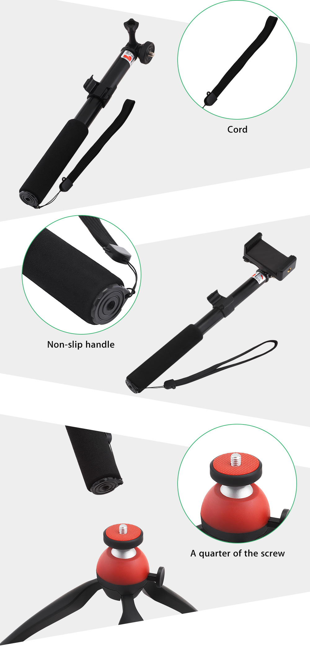 Mini 360 Rotating Stand Adjustable Tripod Mount with Wireless Bluetooth Selfie Stick Remote Shutter Holder for Phone / Digital Camera 5.5 inch