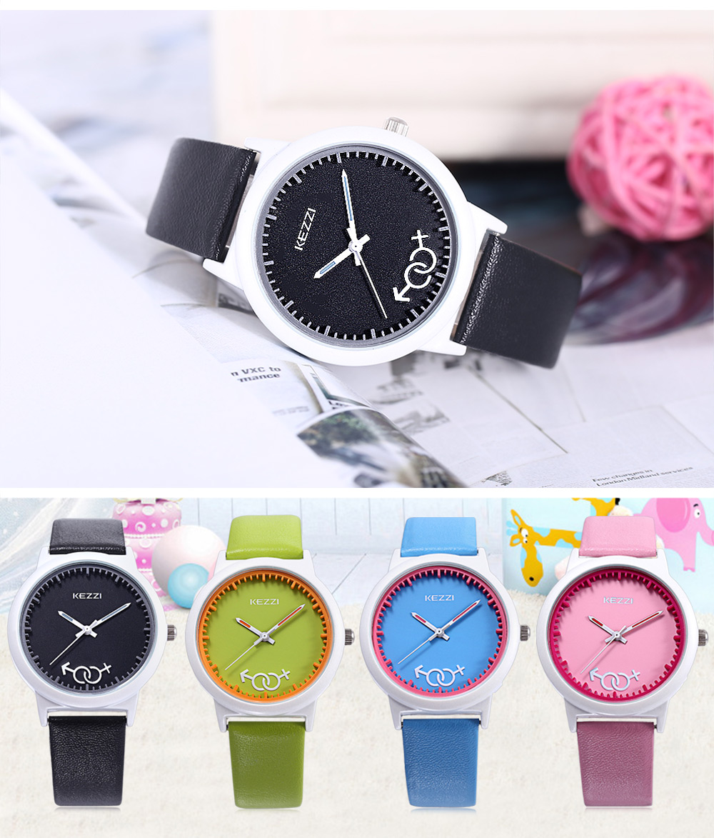 KEZZI K - 1515 Children Quartz Watch Simple Dial Imported Movt Leather Band Wristwatch