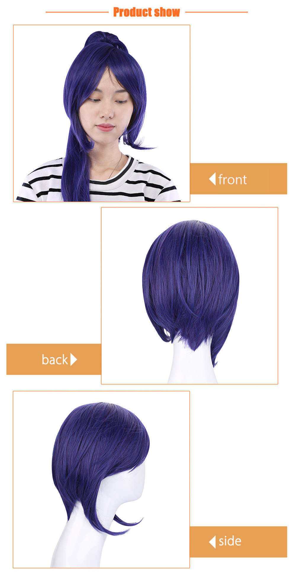 64CM Long Full Wigs with Ponytail Heat Resistant Synthetic Hair Anime Cosplay Party for Sunshine Aqours Matsuura Kanan Figure