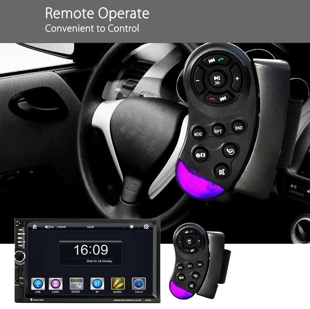7020G 7 inch Car Audio Stereo MP5 Player 12V Auto Video Remote Control Rearview Camera GPS Navigation Function
