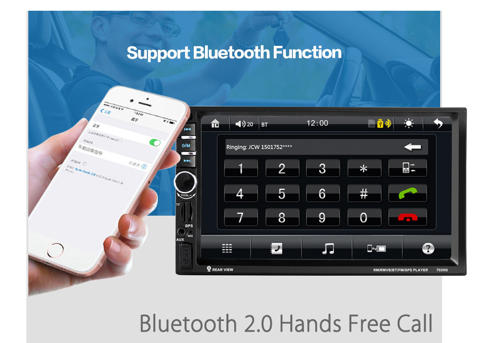 7020G 7 inch Car Audio Stereo MP5 Player 12V Auto Video Remote Control GPS Navigation Function