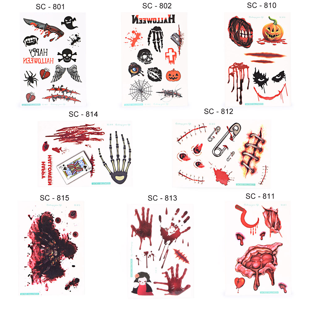 Diverse Waterproof Temporary Bloody Tattoo Stickers Horror for Halloween Makeup