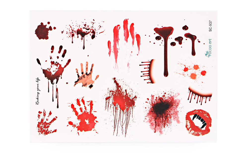 Waterproof Temporary Bloody Tattoo Stickers Horror Scar for Halloween Makeup