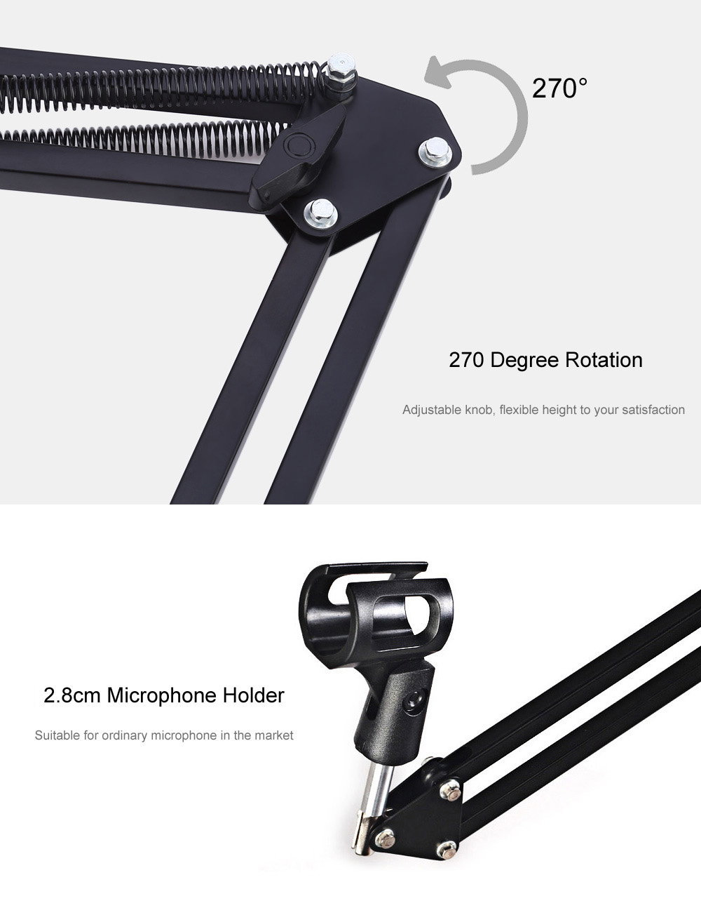 nb - 35 Professional Metal-plating Microphone Stand Holder for Music Recording Use