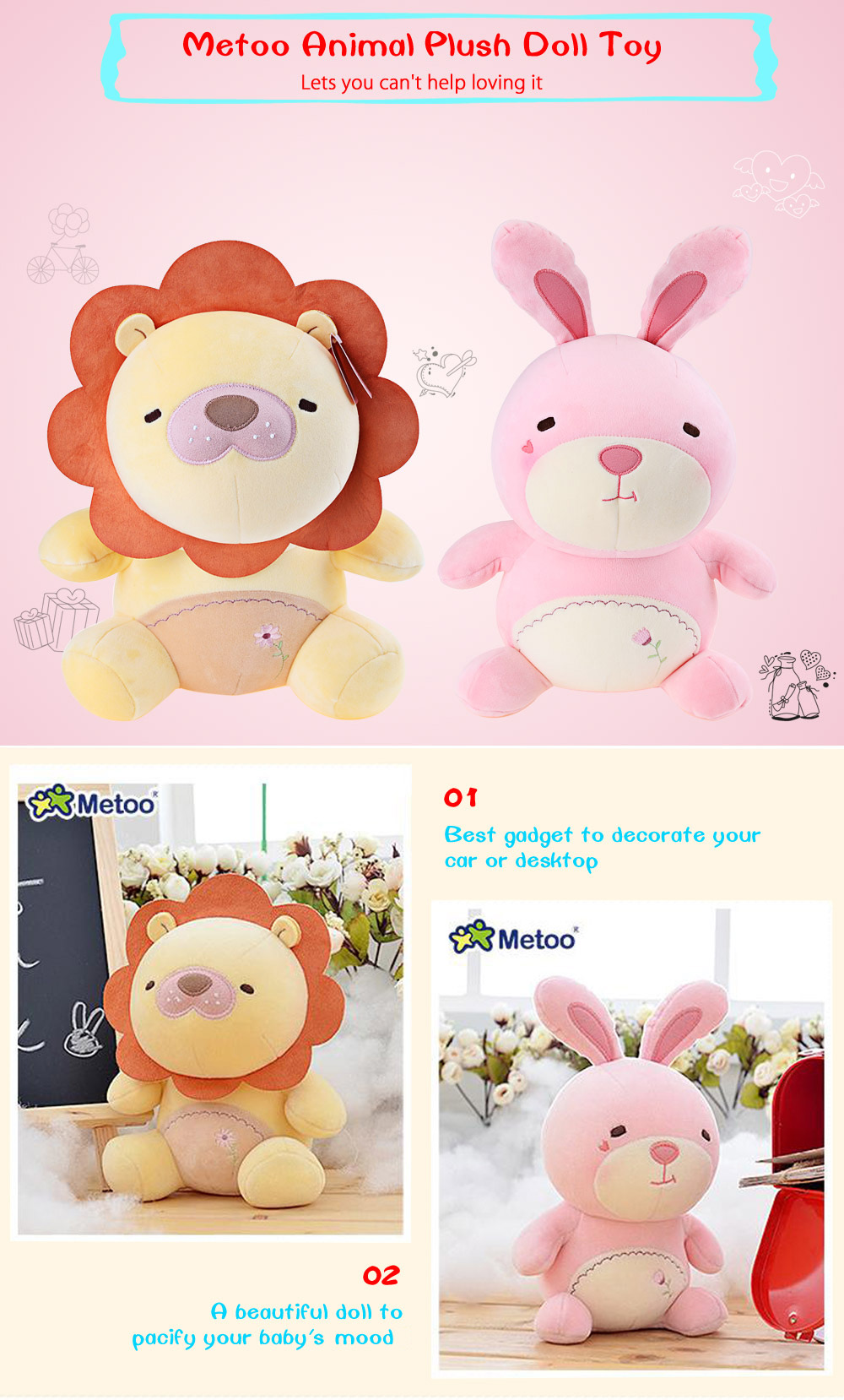 Metoo Animal Plush Doll Toy Birthday Christmas Gift