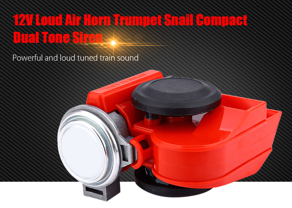 12V Loud Air Horn Trumpet Snail Compact Dual Tone Siren Electric Car Boat Van Motorcycle Electronic Horn