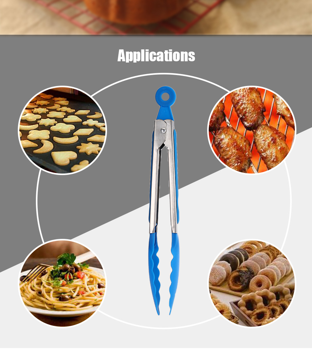 11 inch Non-stick Stainless Steel Food Clip Bread Folder Barbecue Baking Tool