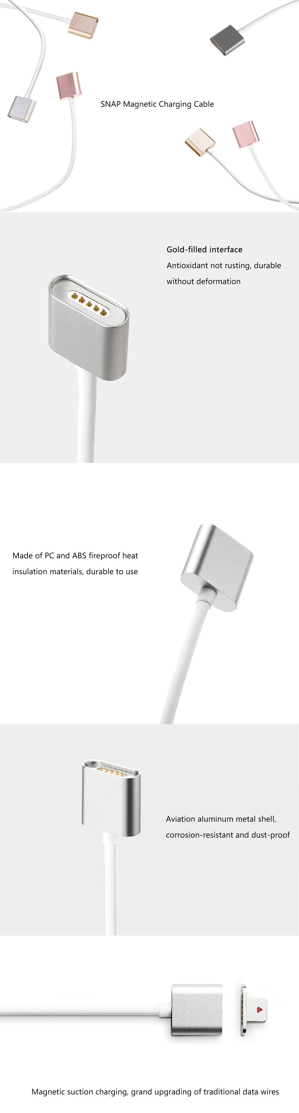 Moizen SNAP - 02 USB Data Cable Magnetic Charger Adapter 1.2M for iPhone / iPad