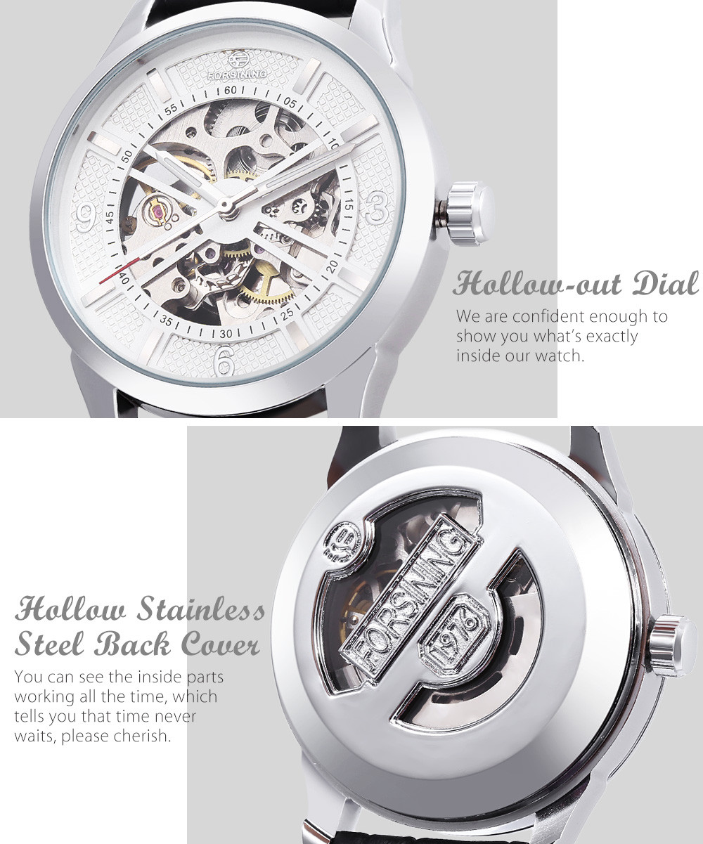 Forsining F1205311 Male Auto Mechanical Watch Luminous Hollow Back Cover Nail Scale Wristwatch
