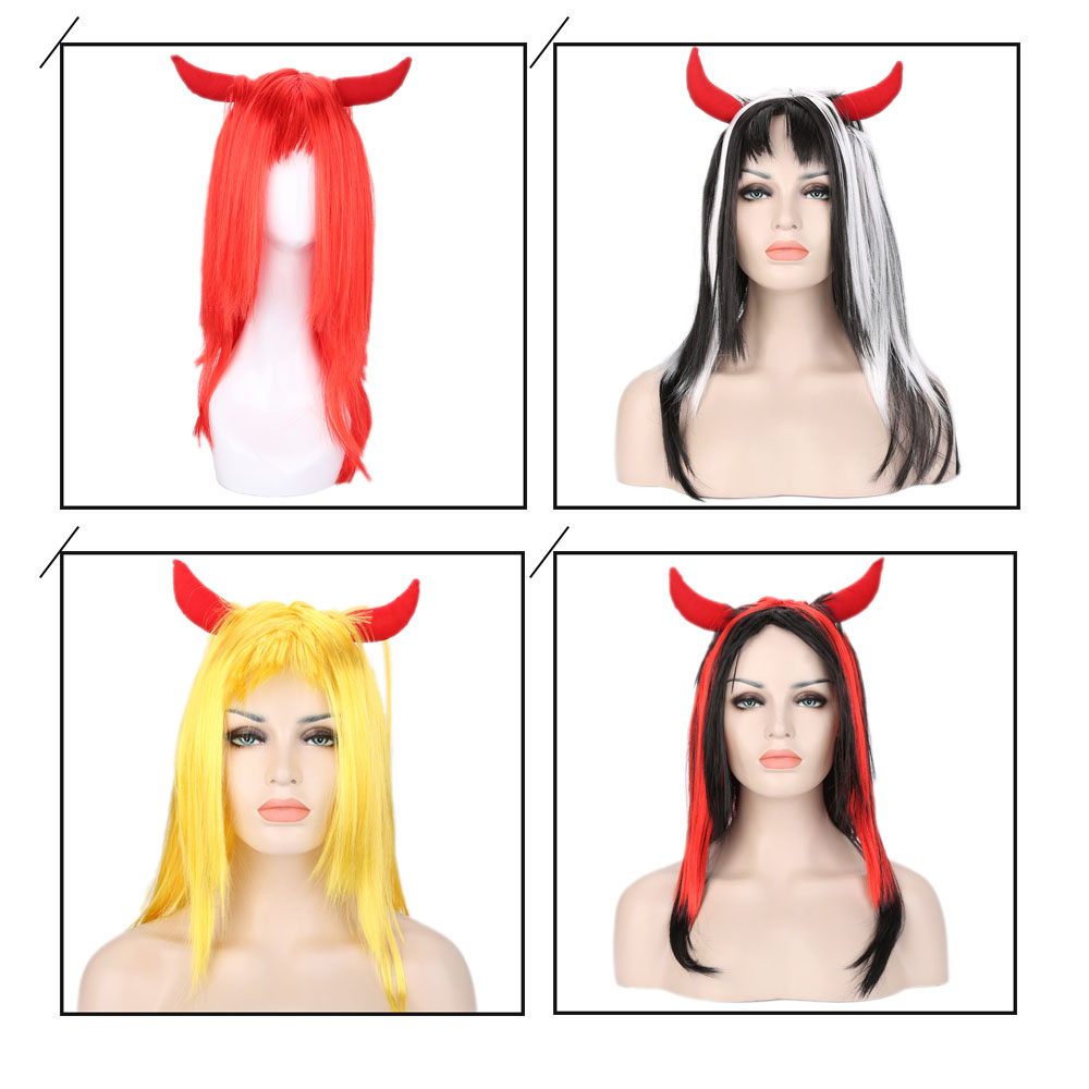 Women Medium Straight Wigs with Ox Horn for Window Models Cosplay Masquerade Halloween