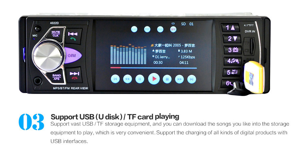 4022D 4.1 Inch Car MP5 Player Stereo Audio Bluetooth TFT Screen FM Station Video with Remote Control Camera