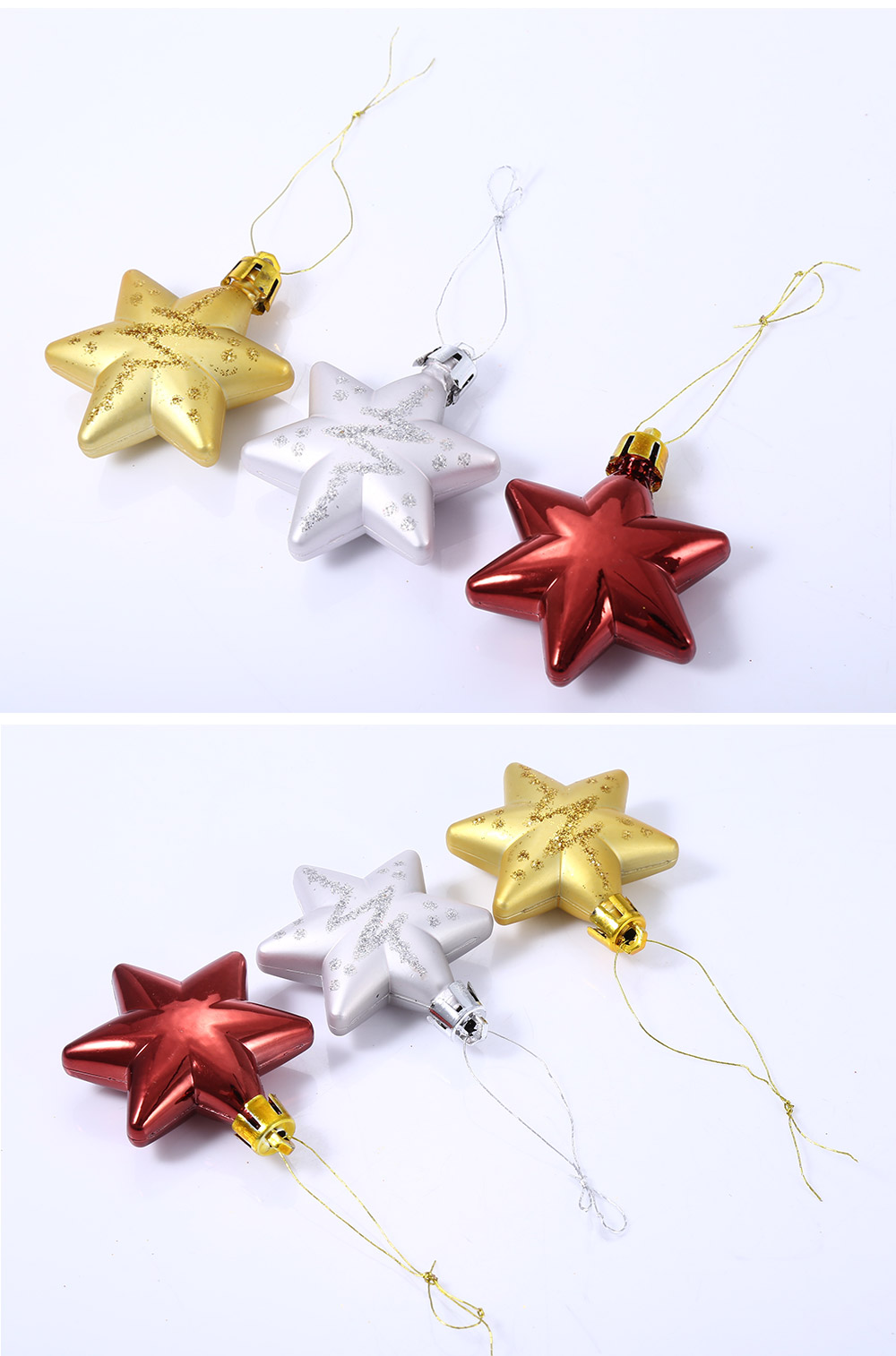 5pcs Christmas Decorating Five Star Hanging Ornaments