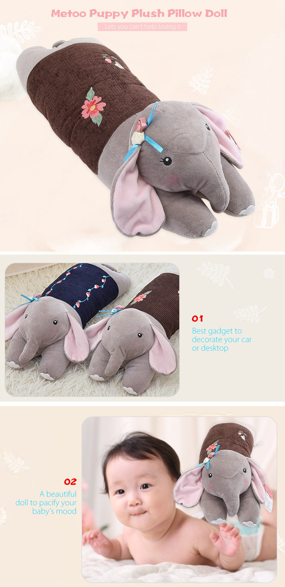 Metoo Elephant Plush Doll Toy Cushion Pillow Christmas Gift