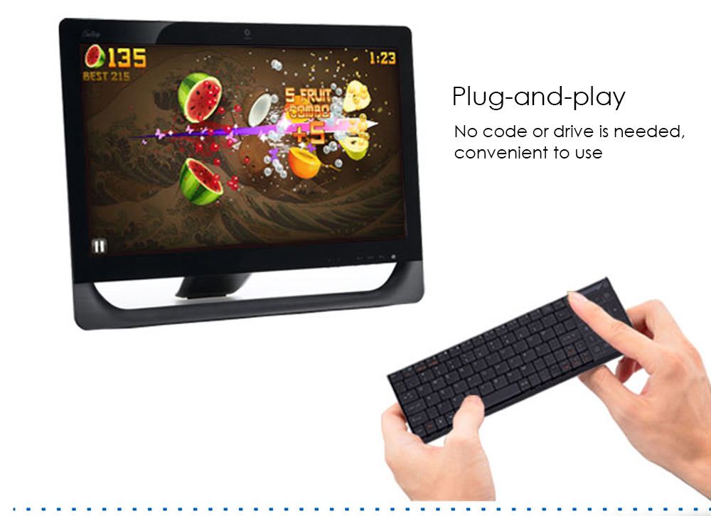 IPAZZPORT 25 Wireless Keyboard Built-in RF Multi-touch Touchpad