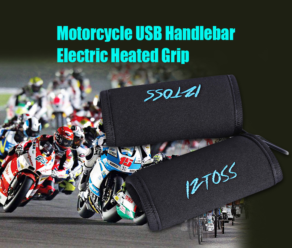 IZTOSS Pair of Motorcycle Motorbike Heated Grip USB Handlebar Electric Warming Sleeve
