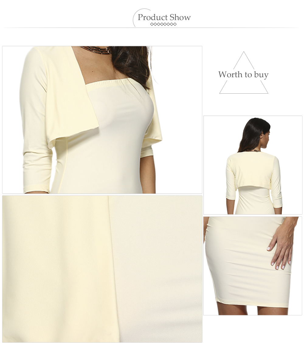Sexy Strapless Bodycon Dress Collarless Pure Color Jacket Women Twinset