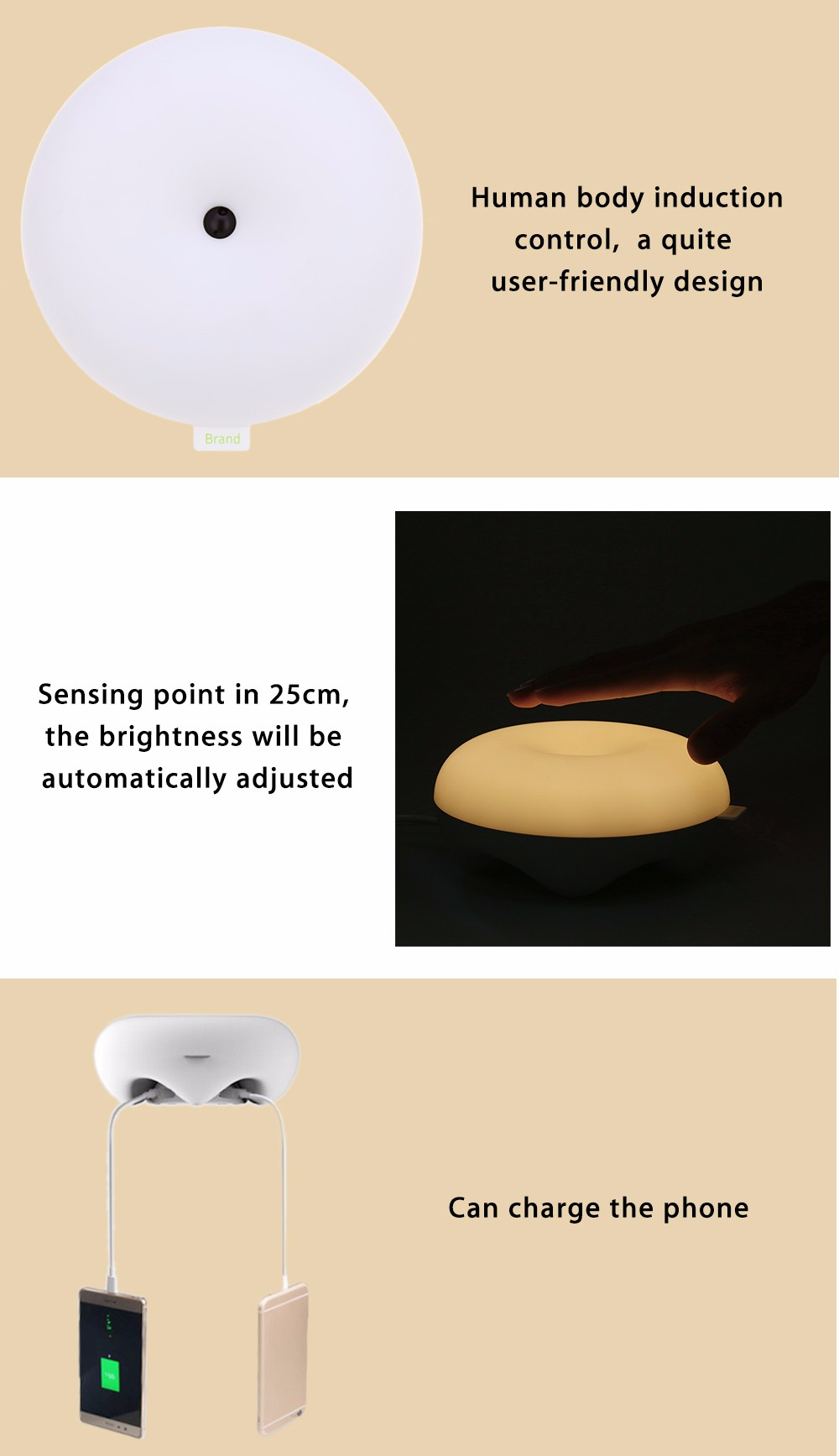 LED Body Induction Nightlight Round Dimming Bedside Light