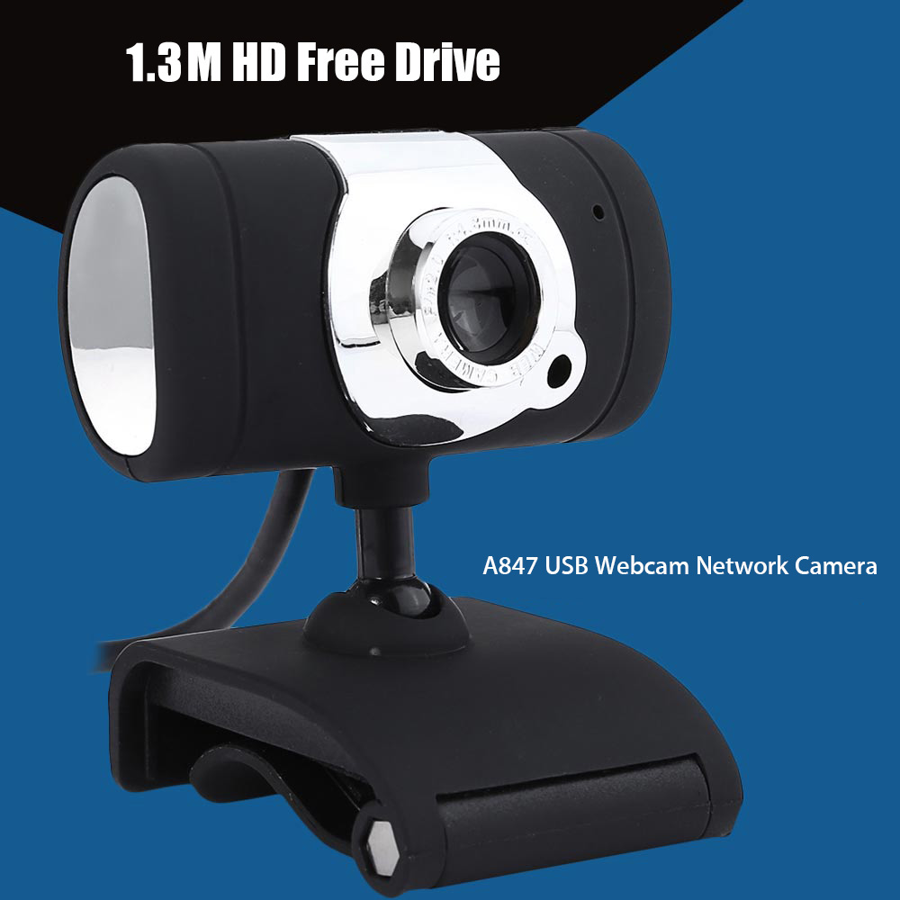 A847 USB 2.0 1.3 Megapixel HD Camera Webcam with MIC Clip-on 360 Degree
