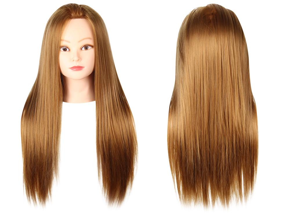 Long Straight Side Parting Wigs with Stand Hair Training Head Makeup Braiding Practice Mannequin Hairdressing