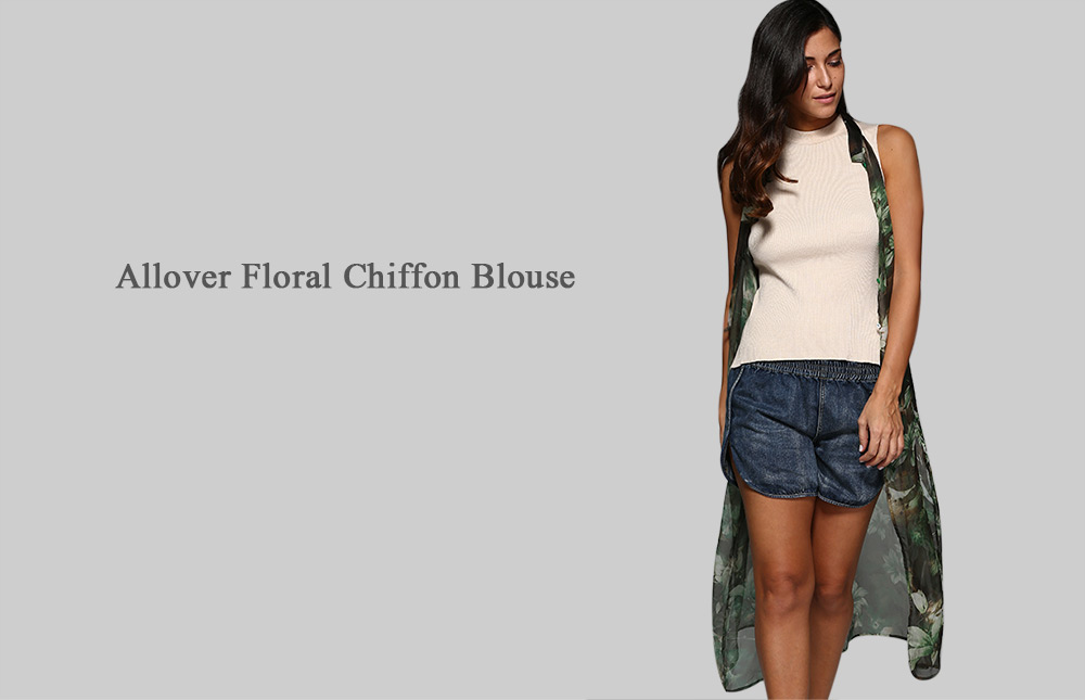 Refreshing Round Collar Floral Chiffon Women Blouse