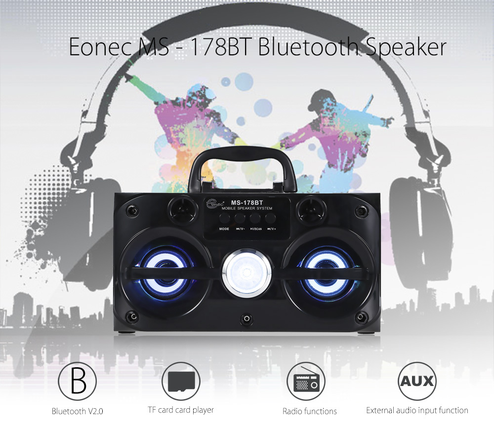 Eonec MS - 178BT Multimedia Bluetooth Speaker FM Radio Player TF Card Playing AUX Stereo