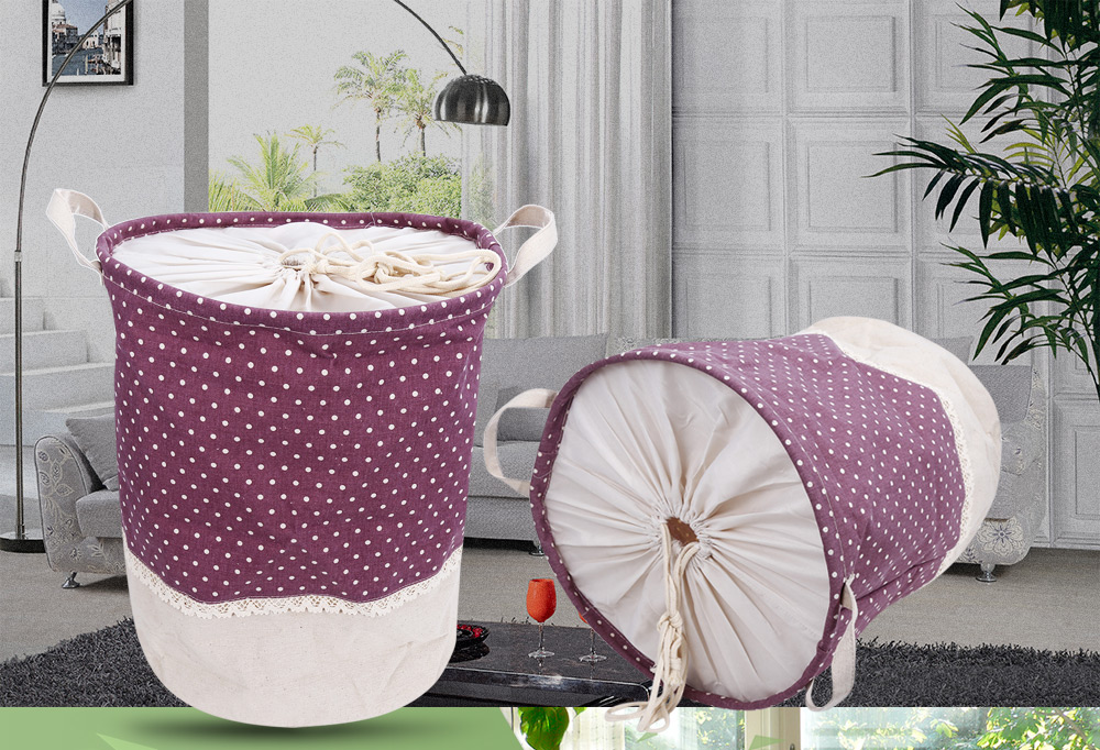 Cotton Linen Dot Pattern Laundry Storage Basket Toy Box