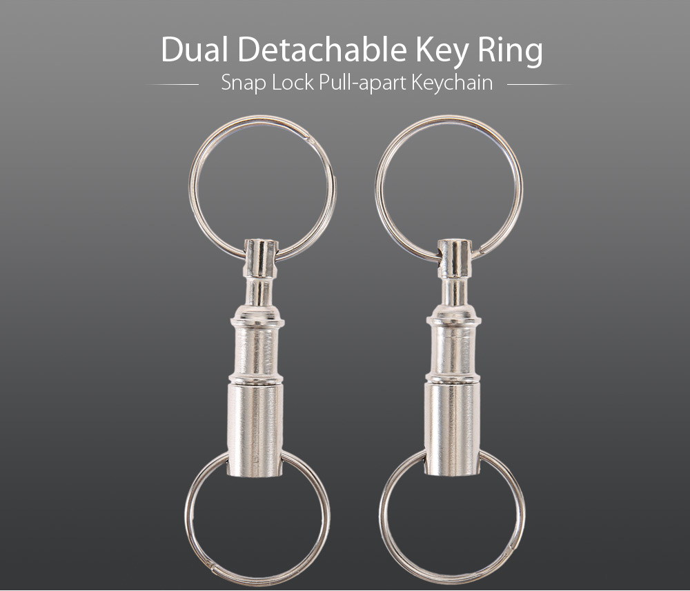 2pcs Dual Detachable Key Ring Snap Lock Pull-apart Keychain Outdoor Camping Equipment