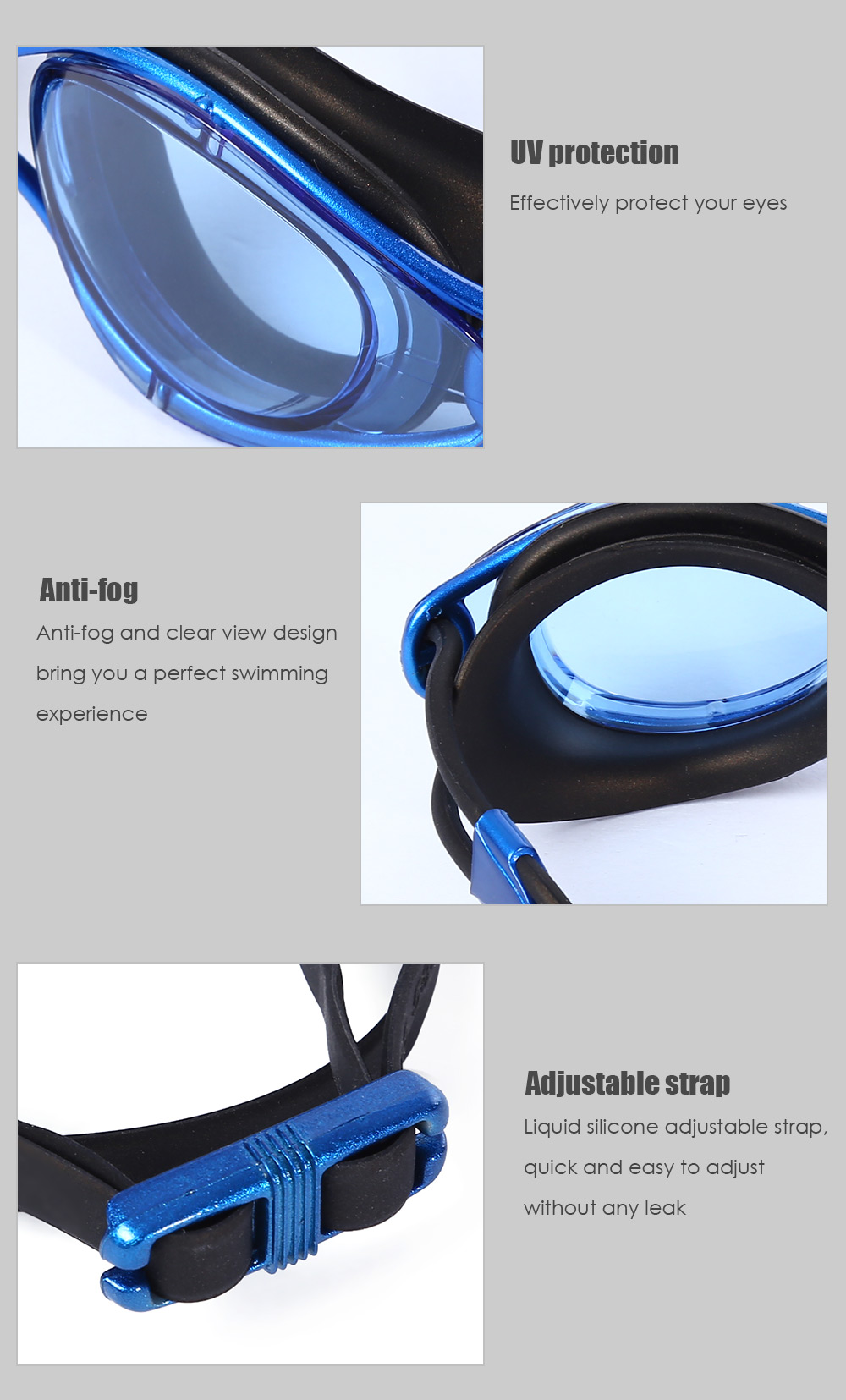 WHALE Adult Professional Anti Fog Water Resistant Silicone Swimming Eyeglasses Goggles with Box