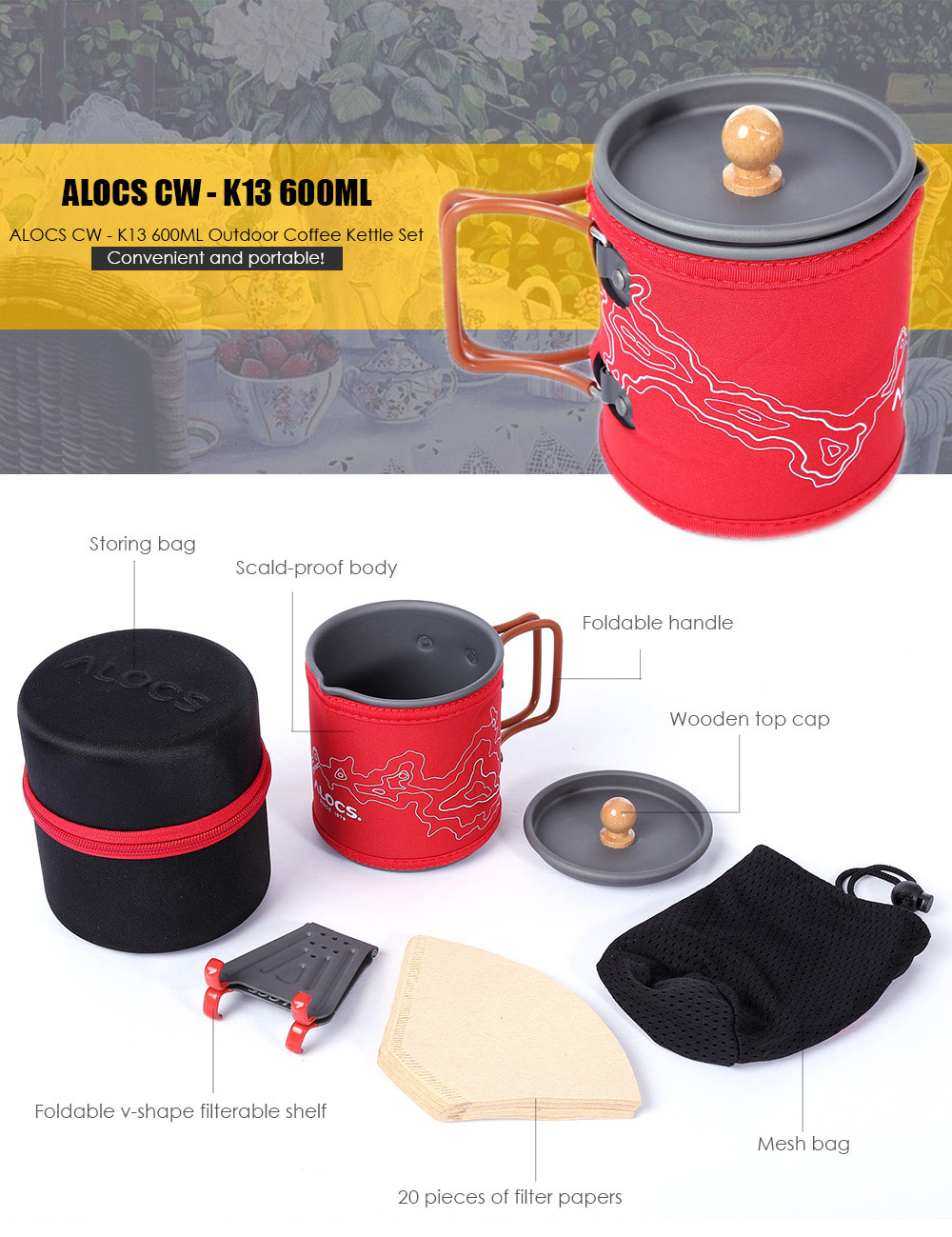 ALOCS CW - K13 600ML Outdoor Car Travel Camping Portable Aluminum Oxide Coffee Pot Kettle Cup Set