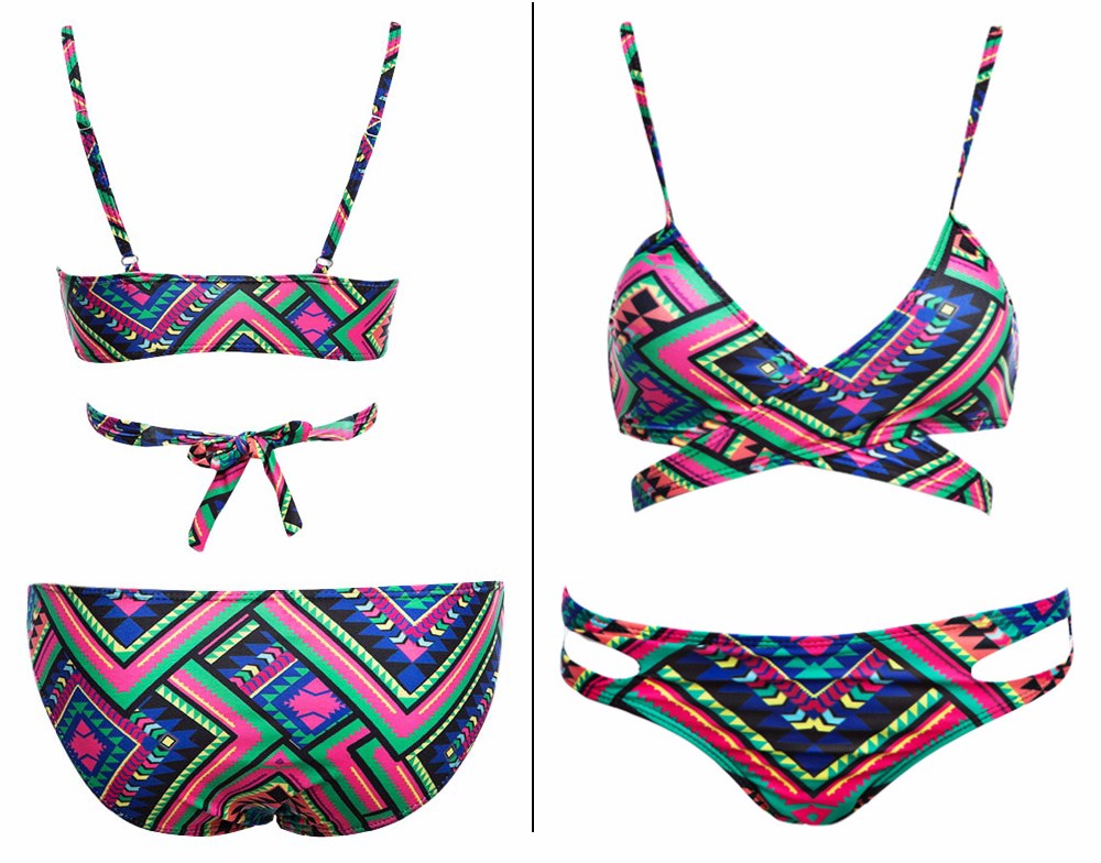 Old Classical Style Spaghetti Strap Tribal Print Padded Women Two Piece Swimset