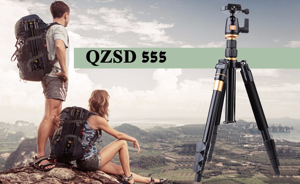 QZSD Q555 55.5 Inches Lightweight Tripod Monopod with 1/4 Screw