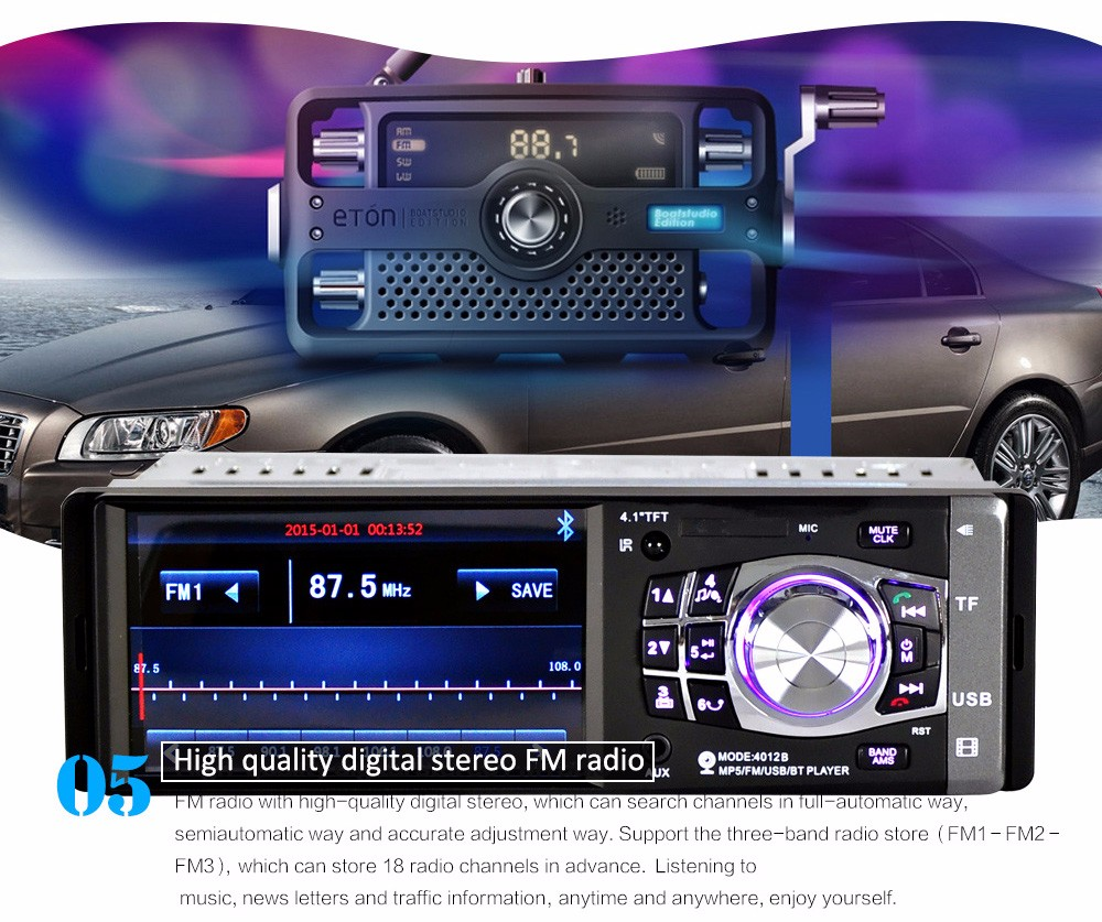 4012B 4.1 inch Car MP5 Vehicle-mounted Radio Multimedia Player Audio Video AUX FM USB Remote Control