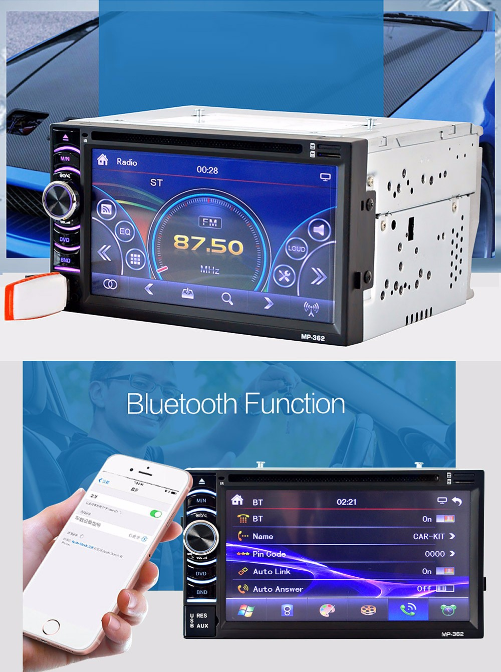 362 6.2 inch Car Audio Stereo DVD Player 12V Auto Video Remote Control FM Function