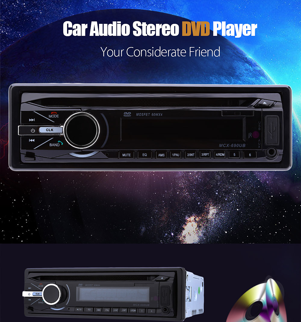 690 Car Audio Stereo DVD Player 12V Bluetooth Auto Video Remote Control FM Function