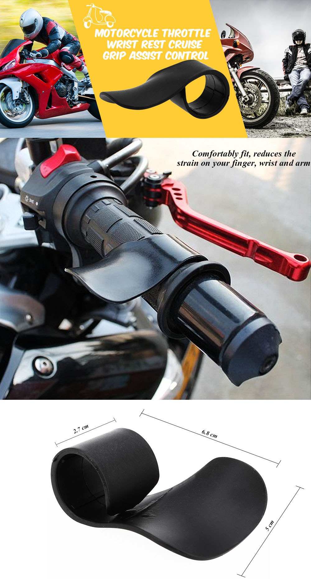 Universal Motorcycle Throttle Booster Wrist Rest Cruise Grip Assist Control