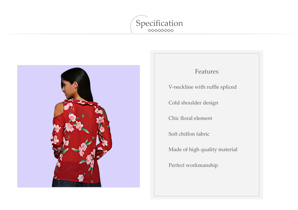 Retro V-Neck Flare Sleeve Flounced Floral Cut Out Women Chiffon Blouse