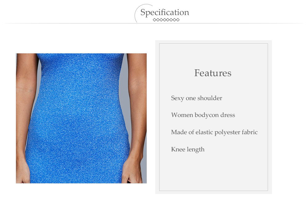 One Shoulder Pure Color Sheath Women Dress
