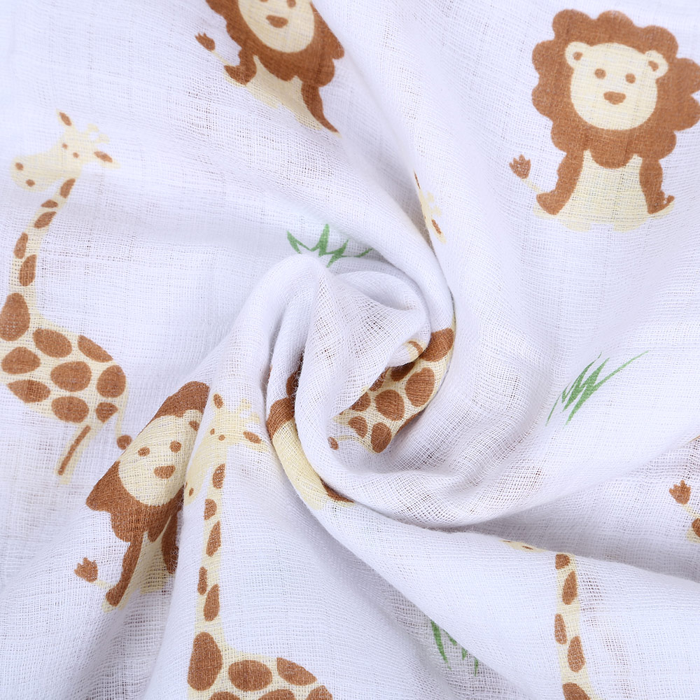 Newborn Sweet Cartoon Print Blanket Infant Cotton Baptism Bath Towel Baby Soft Breathable Warm Muslin Gown