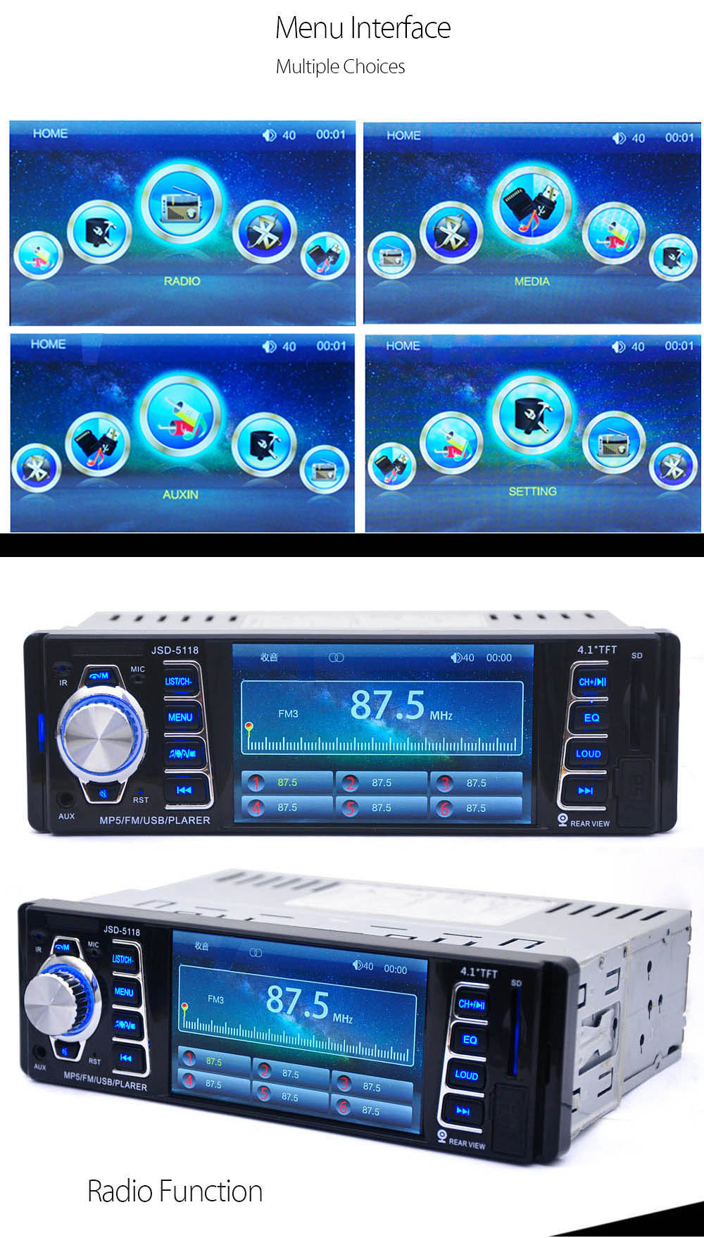 JSD - 5118 7020G 4.1 inch Car Digital Audio Stereo MP5 Player Remote Control