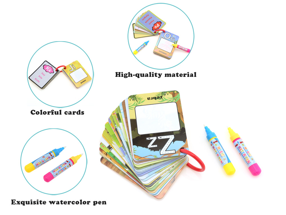 English Learning Card Magic Water Drawing Book for Kid