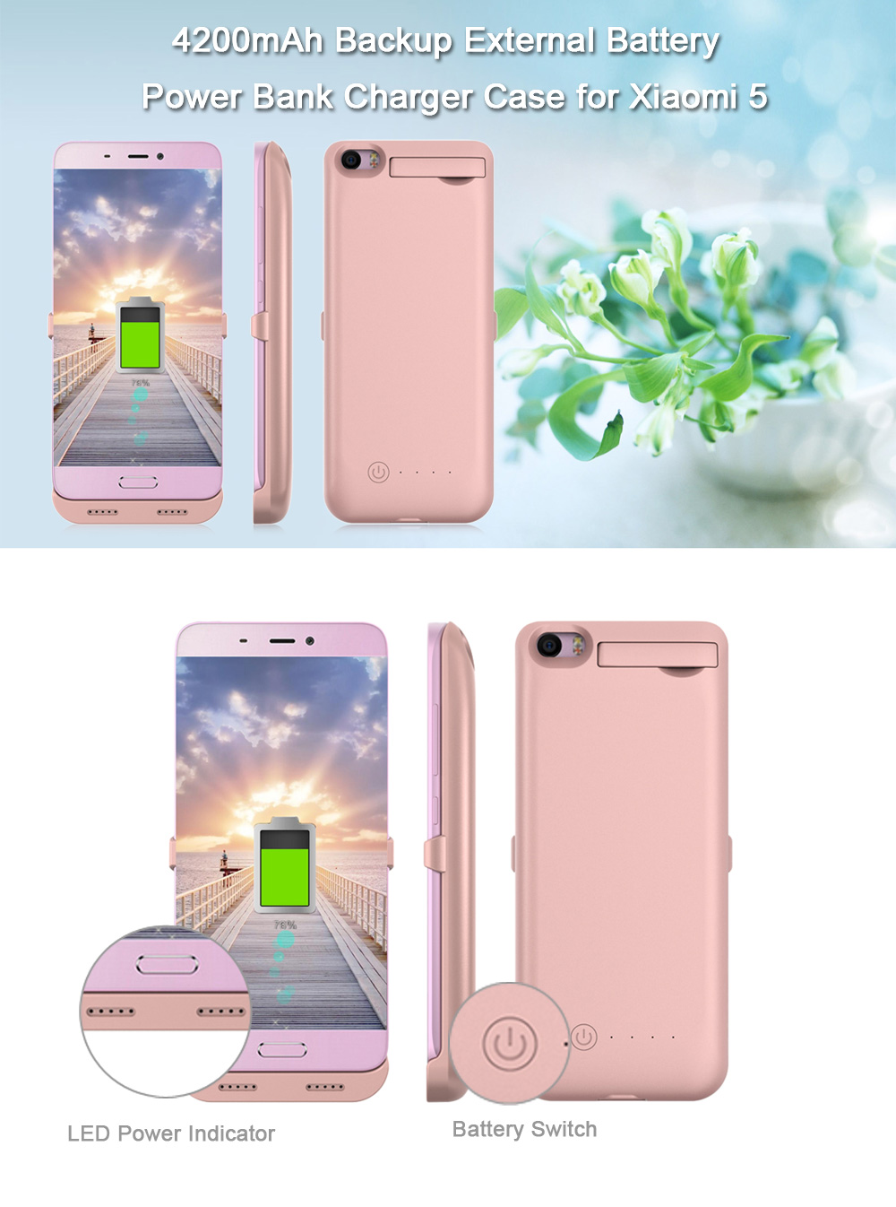 4200mAh Backup Battery External Power Bank Charger Cover for Xiaomi 5