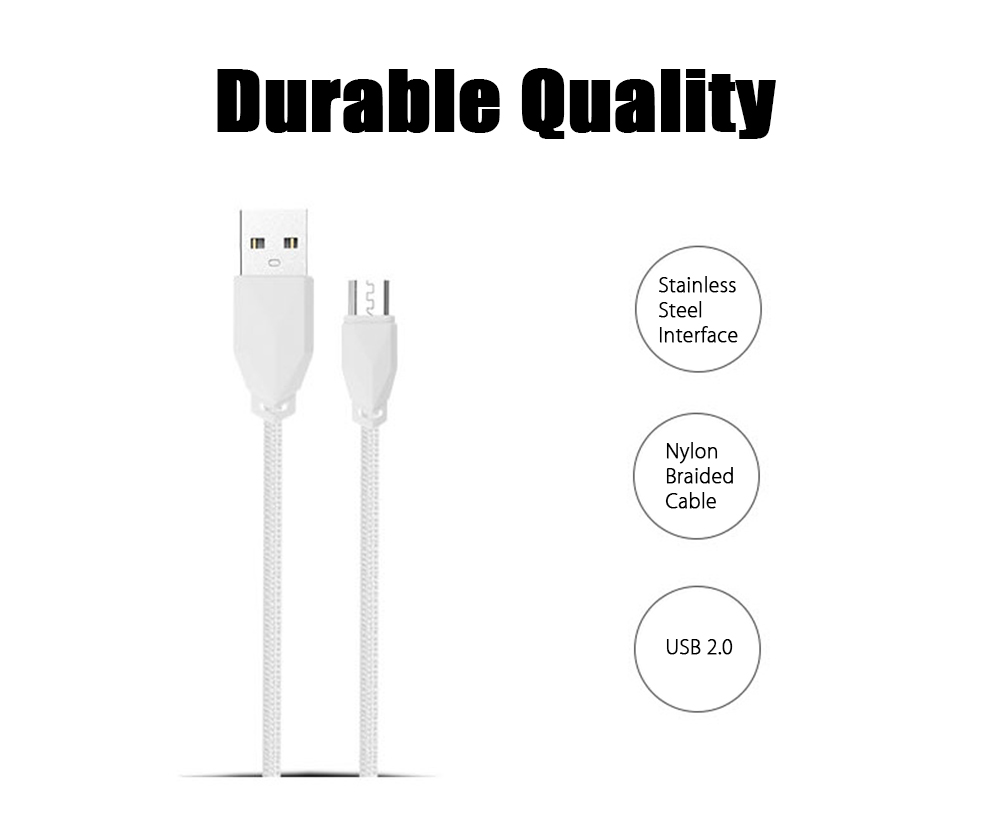 Awei C - 900 Double USB Power Adapter Nylon Knitted Charging Cable Set