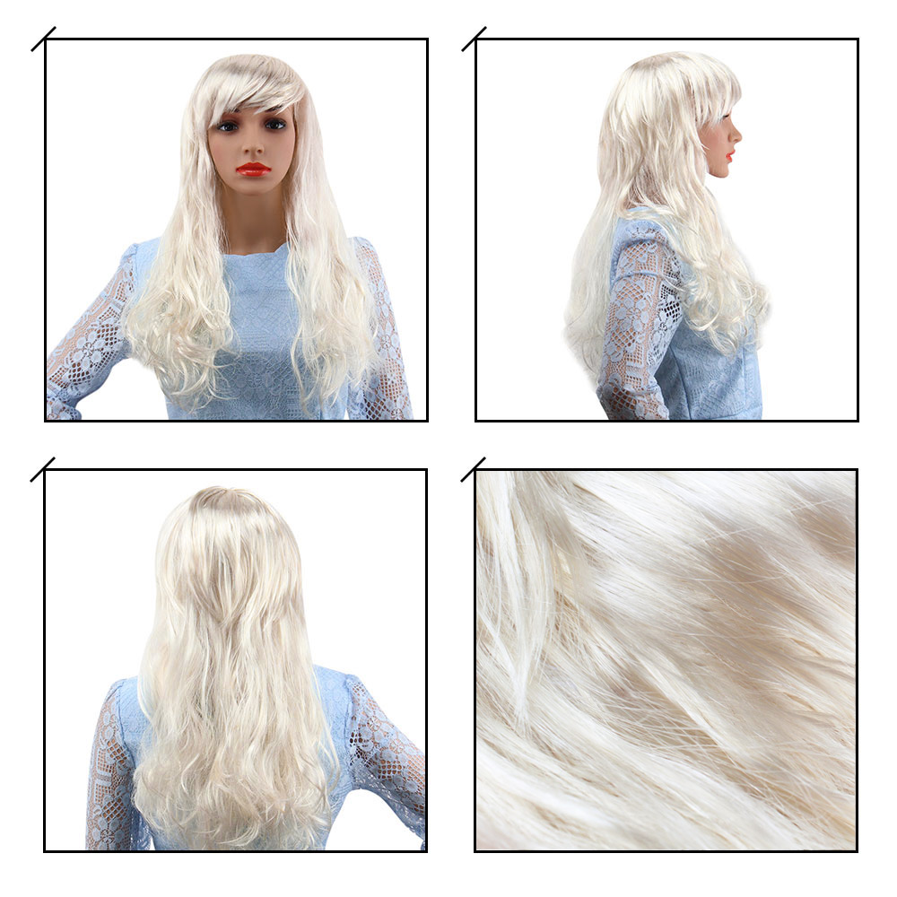 Women Long Curly Big Wavy Off-White Wigs for Window Models Cosplay Halloween Masquerade