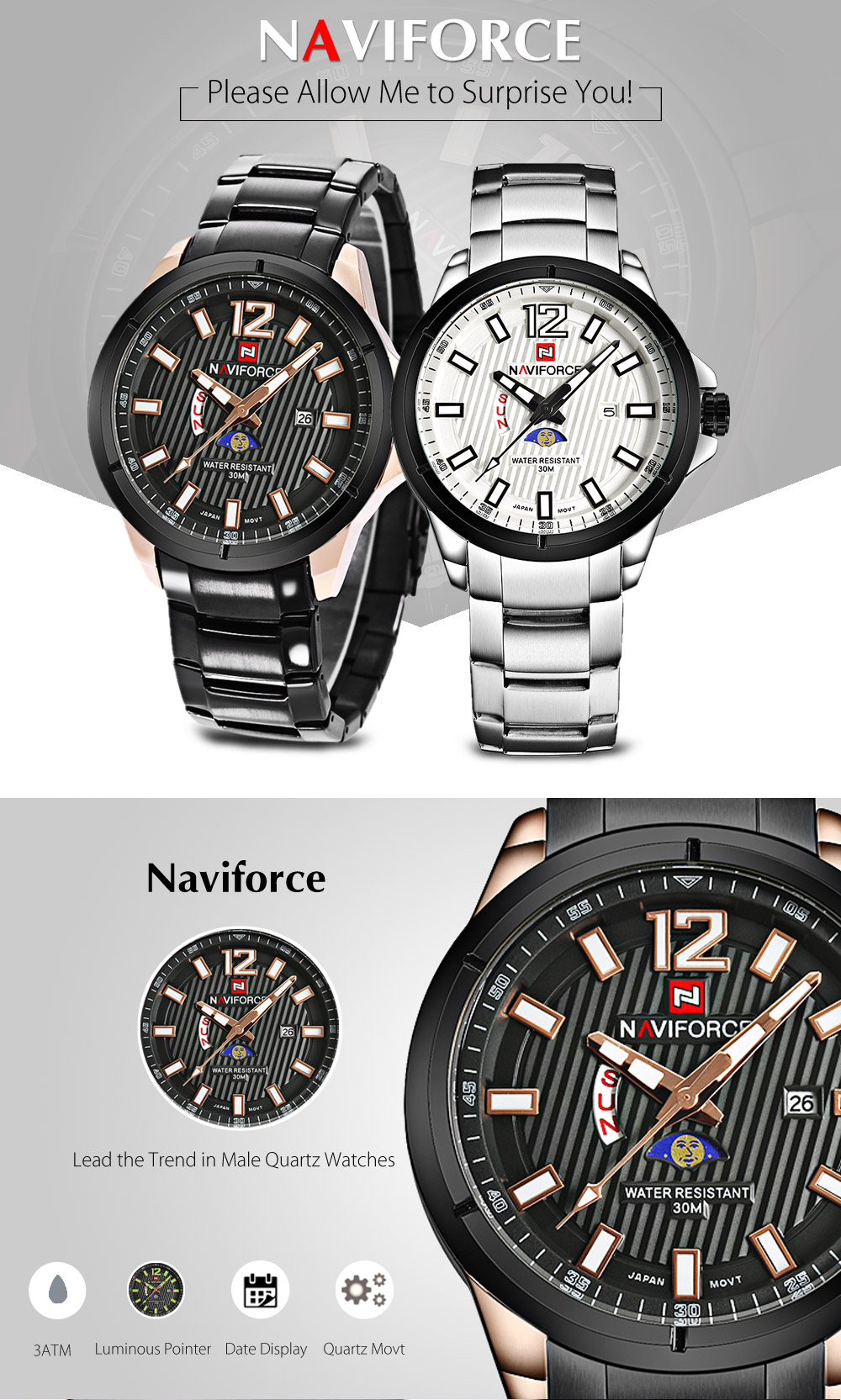 Naviforce 9084 Men Quartz Watch Luminous Date Day Display 3ATM Moon Phase Wristwatch