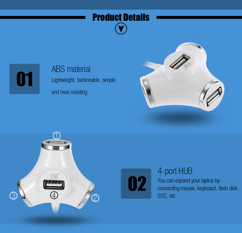 SSK Portable 4-port HUB USB 2.0 Charging Port Converter Adapter