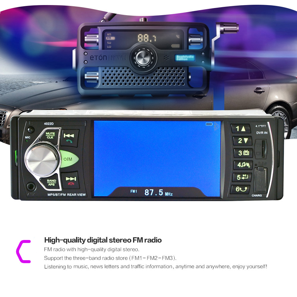 4022D 4.1 inch Car MP5 Player Stereo Audio Bluetooth TFT Screen FM Station Video with Remote Control