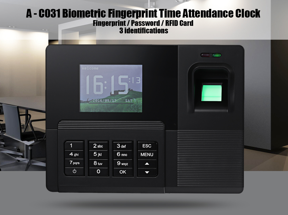 Realand A - C031 Fingerprint Reader Time Attendance Face Recognition Checking Recorder