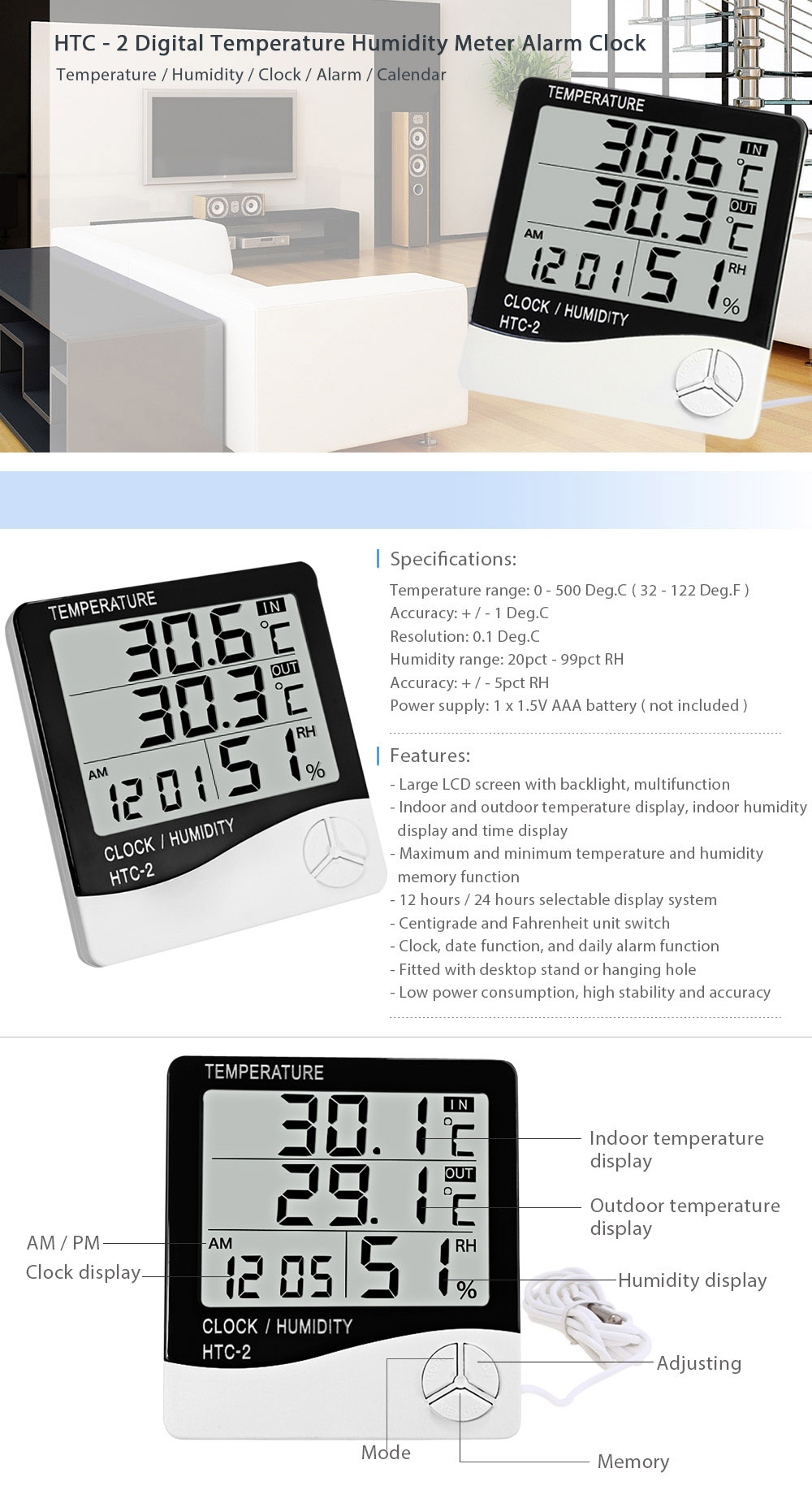 HTC - 2 Digital Electronic Temperature Humidity Meter Thermometer Alarm Clock for Indoor Outdoor