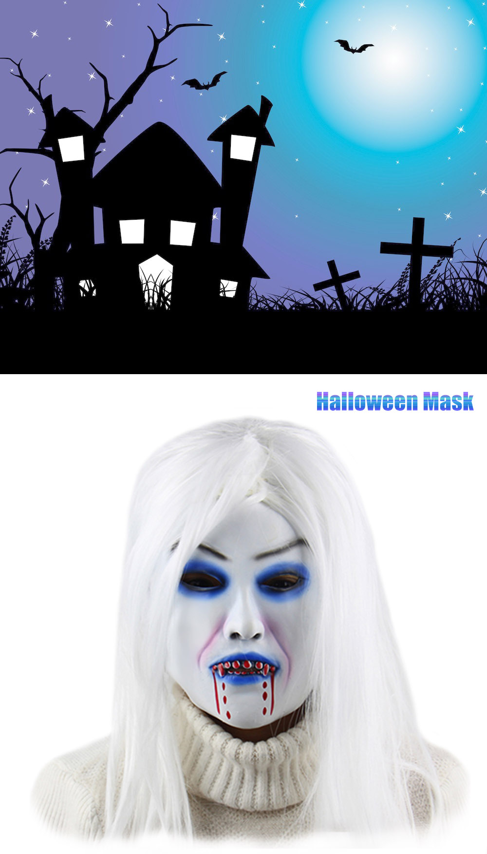 Horror White Witch Ghost Latex Mask Masquerade Halloween Party Bar