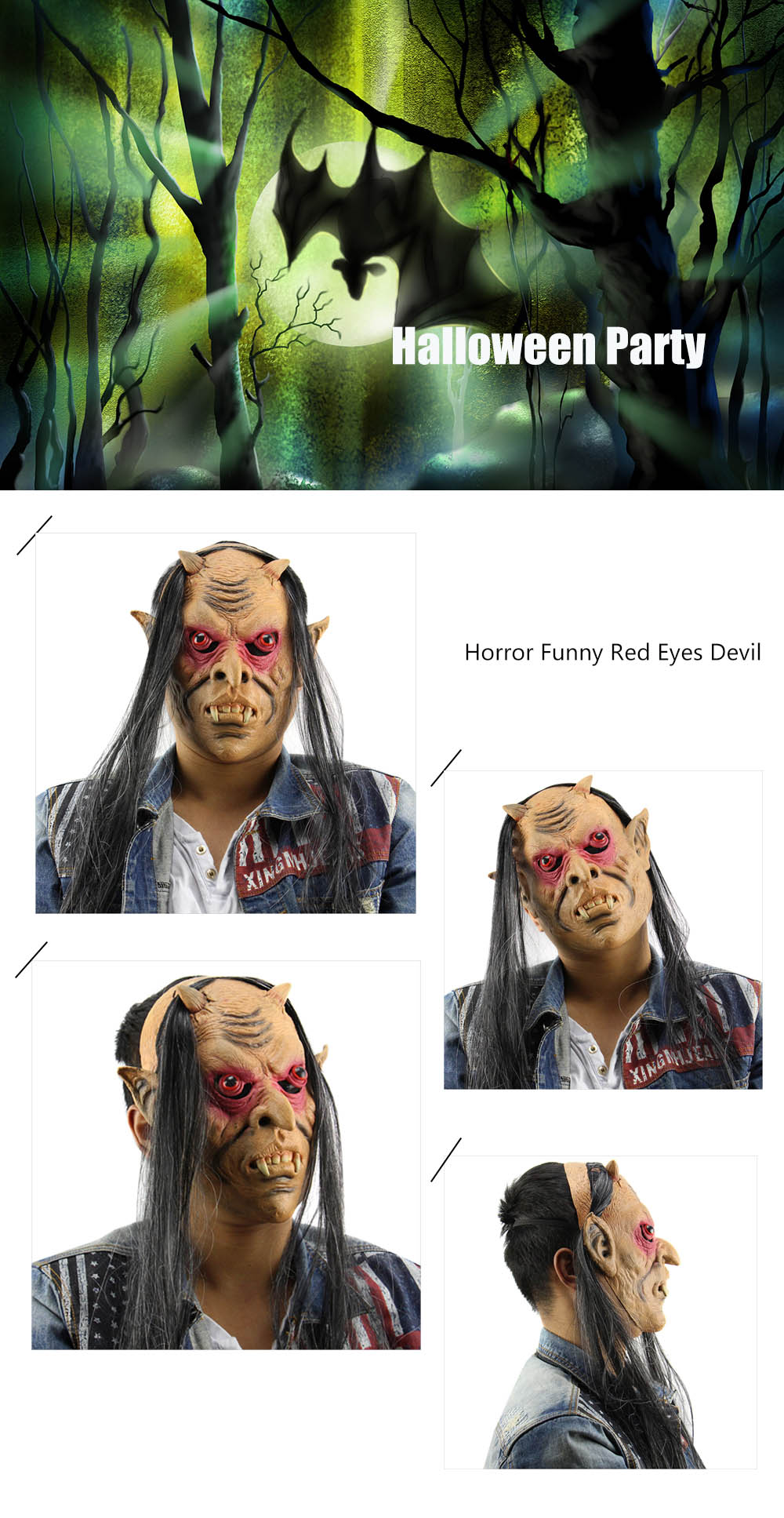 Horror Funny Red Eyes Devil Latex Mask with Wig for Masquerade Halloween Party